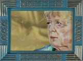 Angela Merkel Portraitmalerei Hinterglas